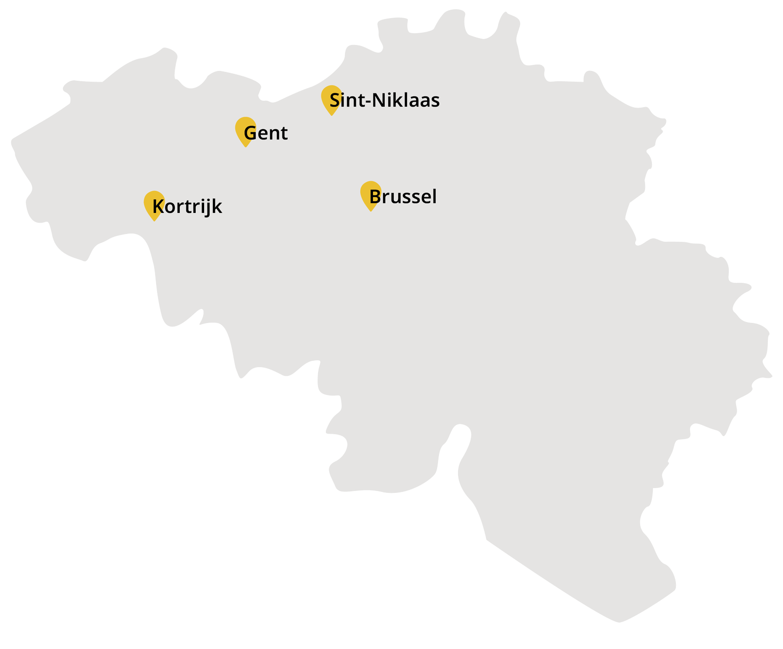 Map of belgium with stores